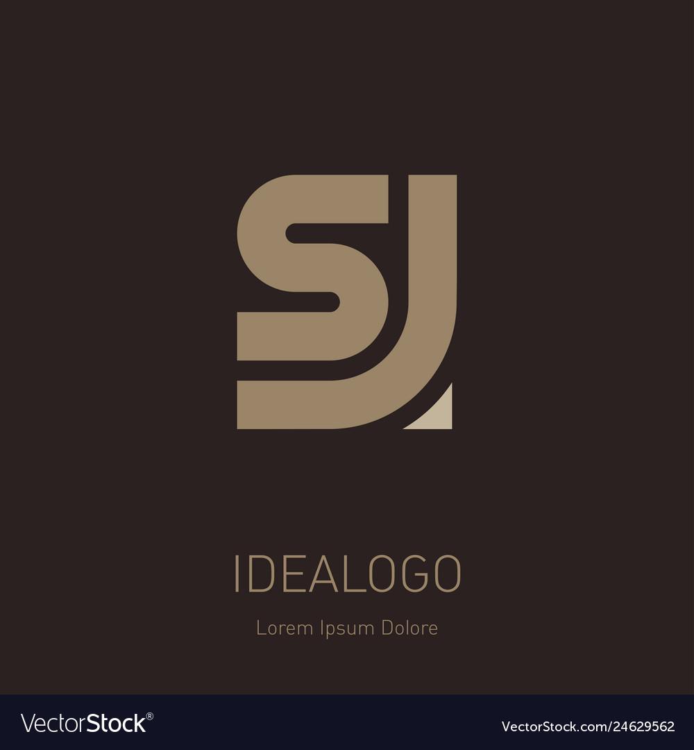 Letter S And J Logo Design Minimal Monogram Vector Image