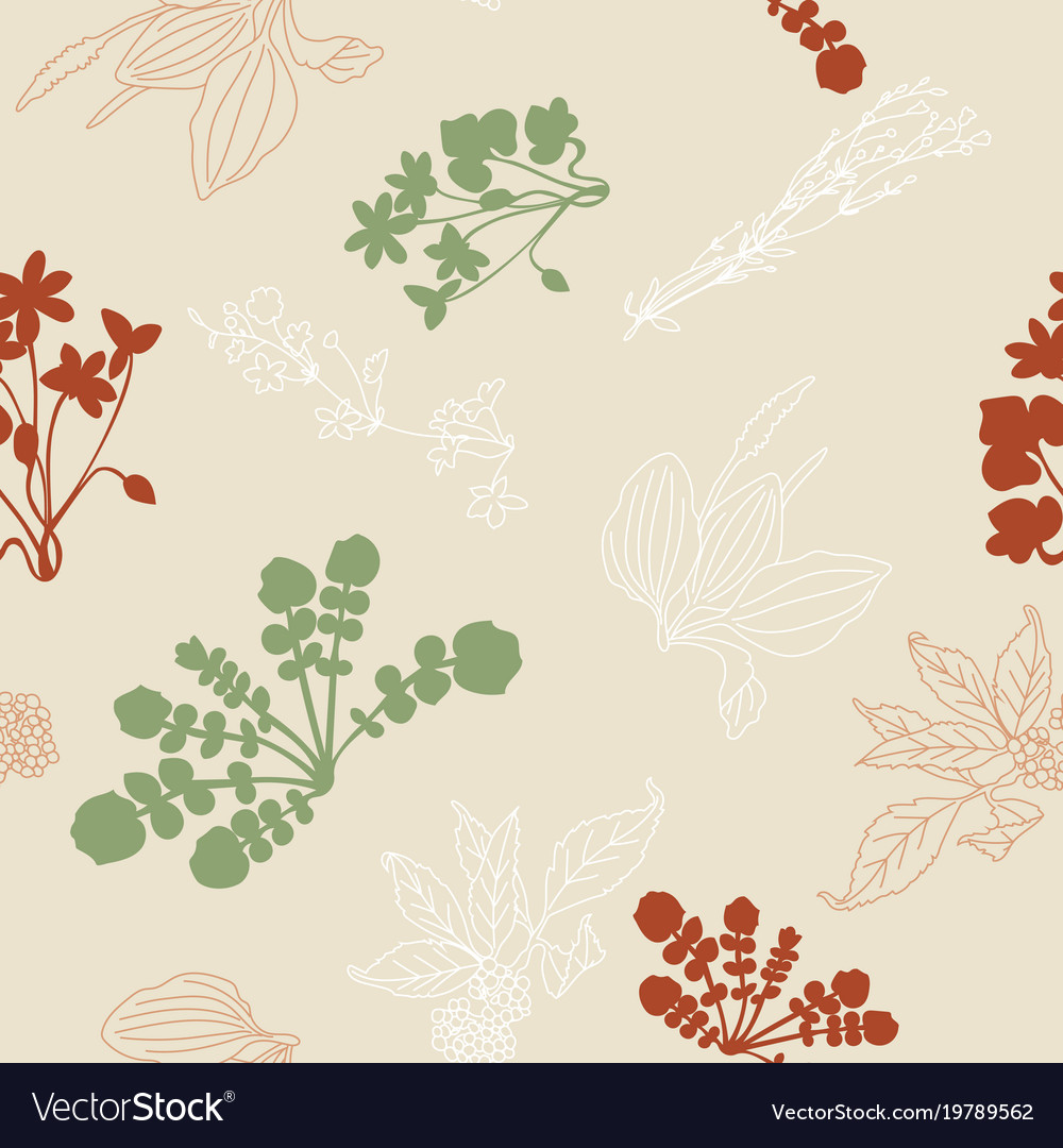 Seamless pattern with silhouettes of flowers and