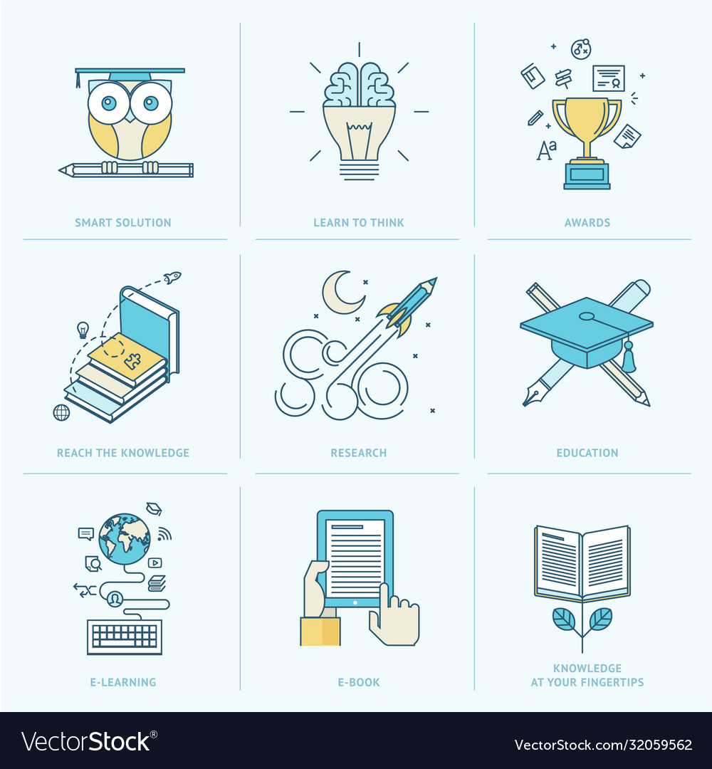 Set flat line icons for education