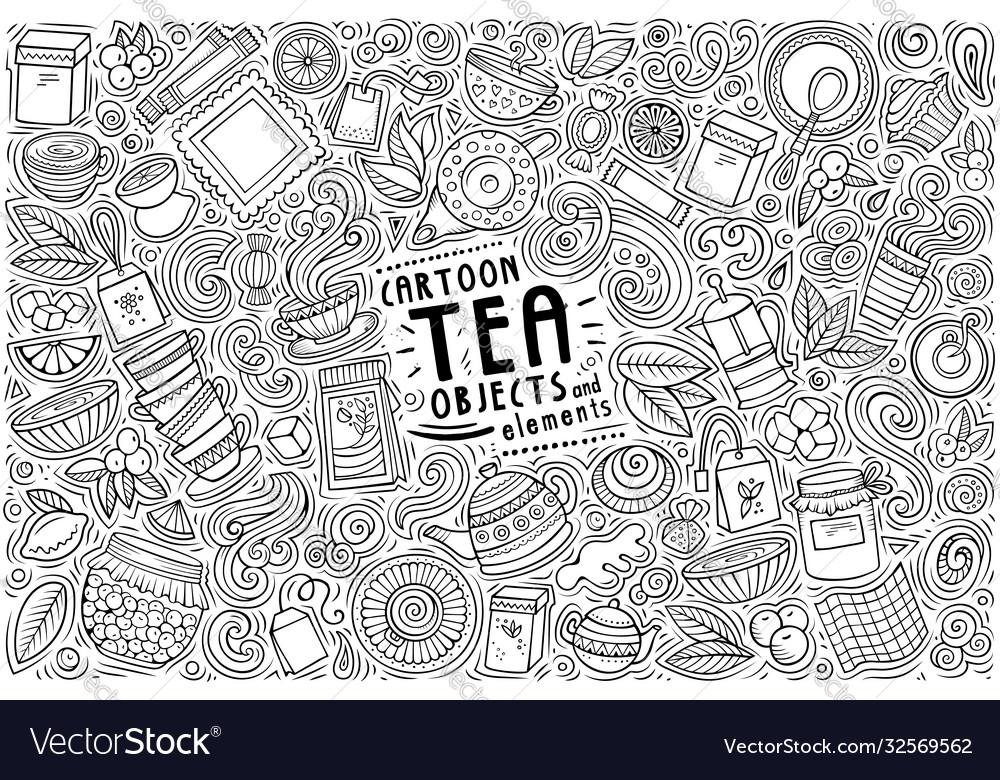 Set tea theme items objects and symbols