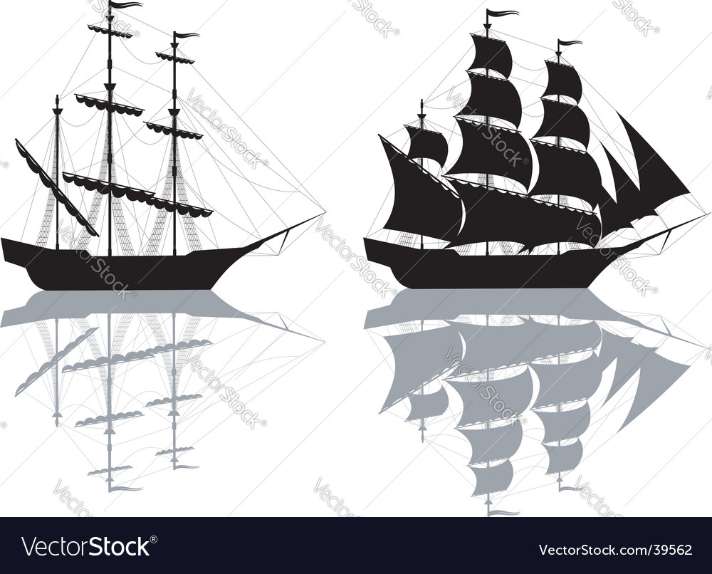 Two ships isolated on white