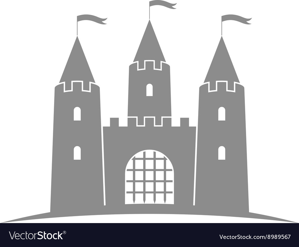 Antique castle Abstract building on white