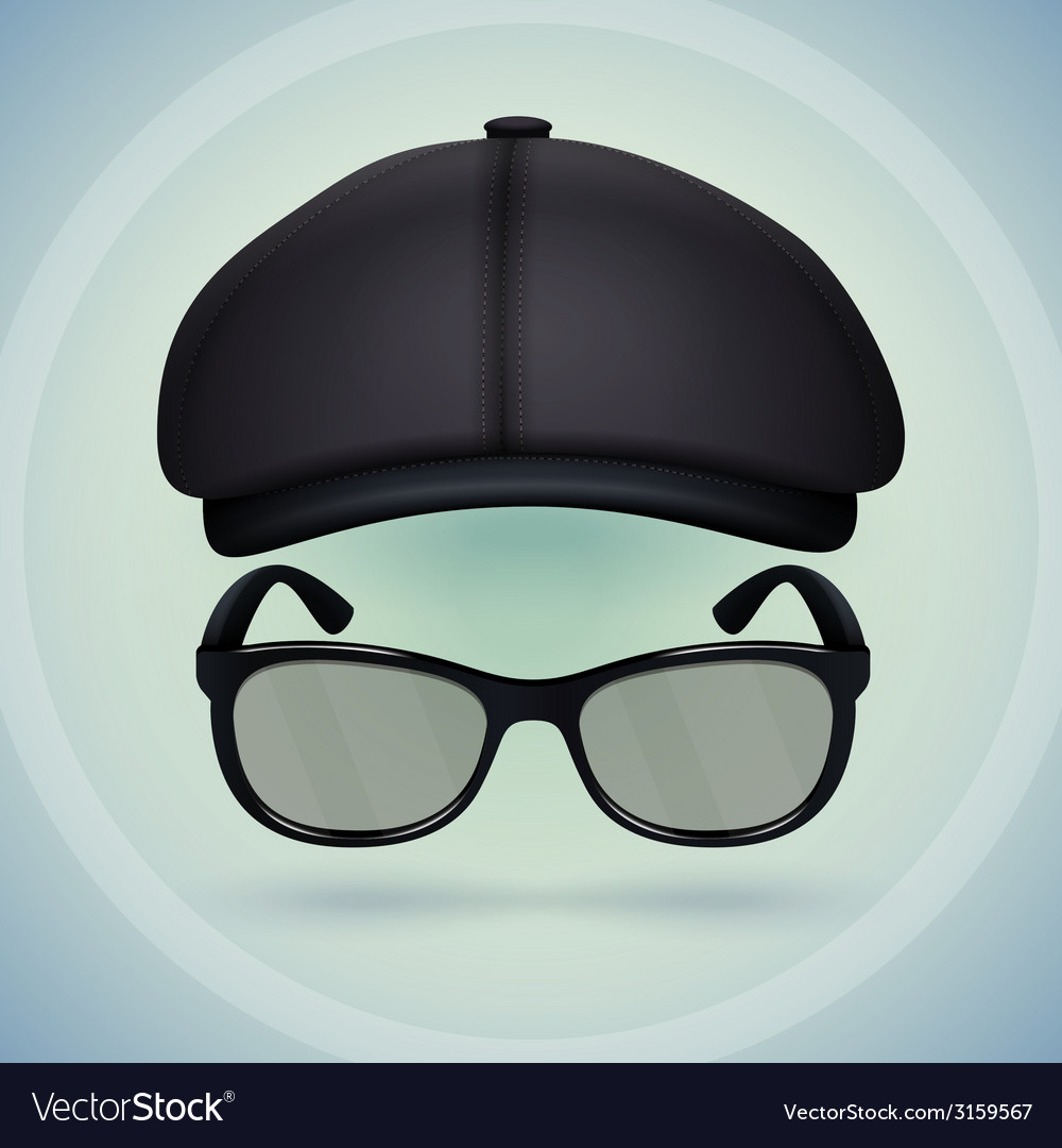 Black cap and eyeglasses
