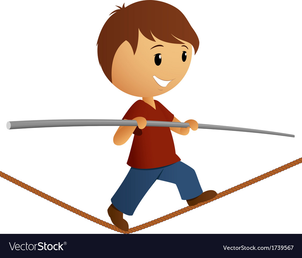 Boy in red shirt balance on the rope