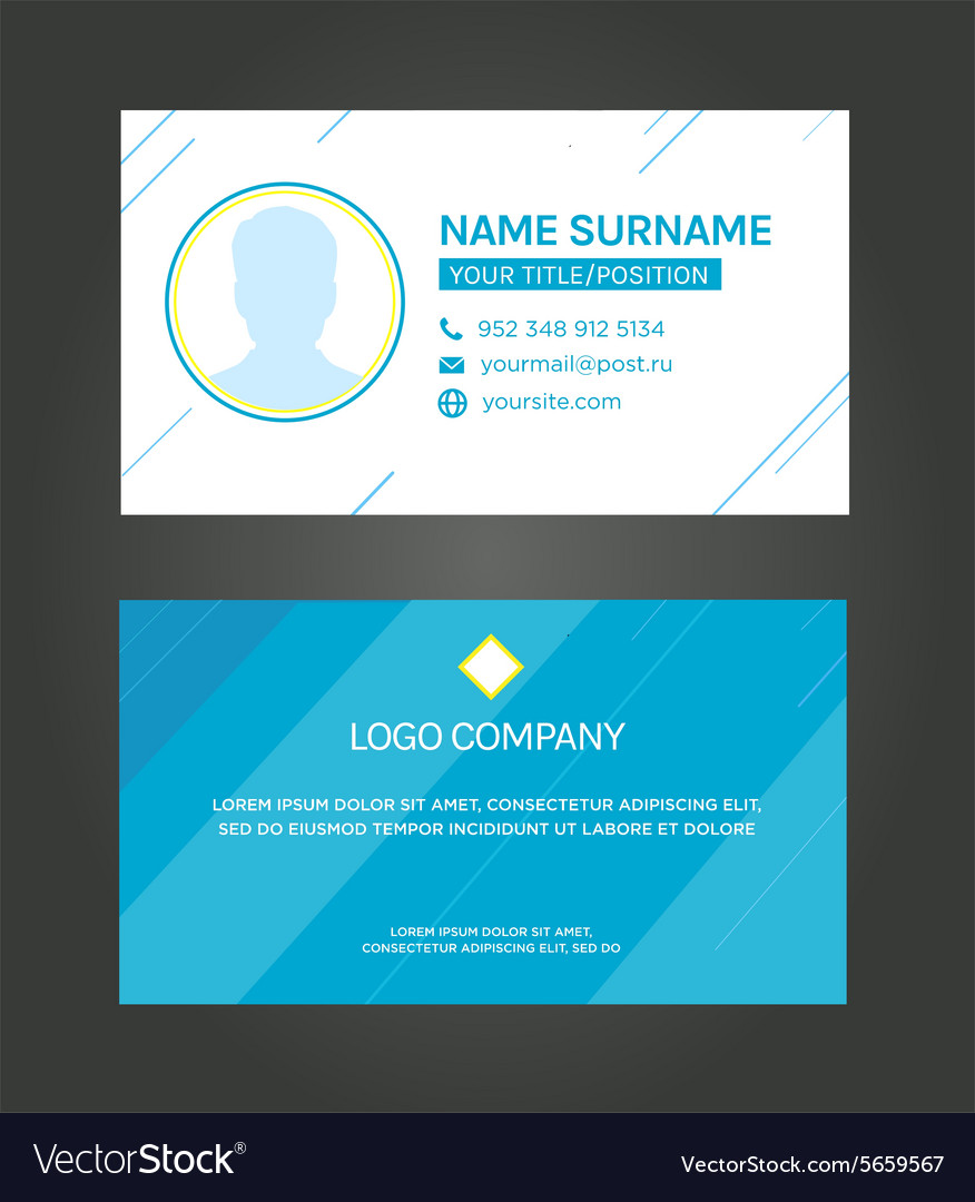 Business card template blue pattern design