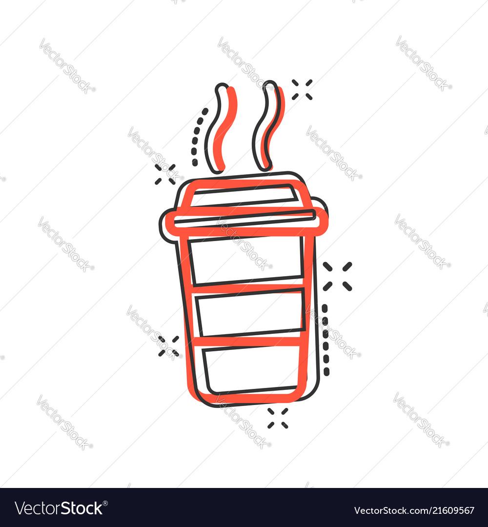 Cartoon coffee cup icon in comic style tea mug