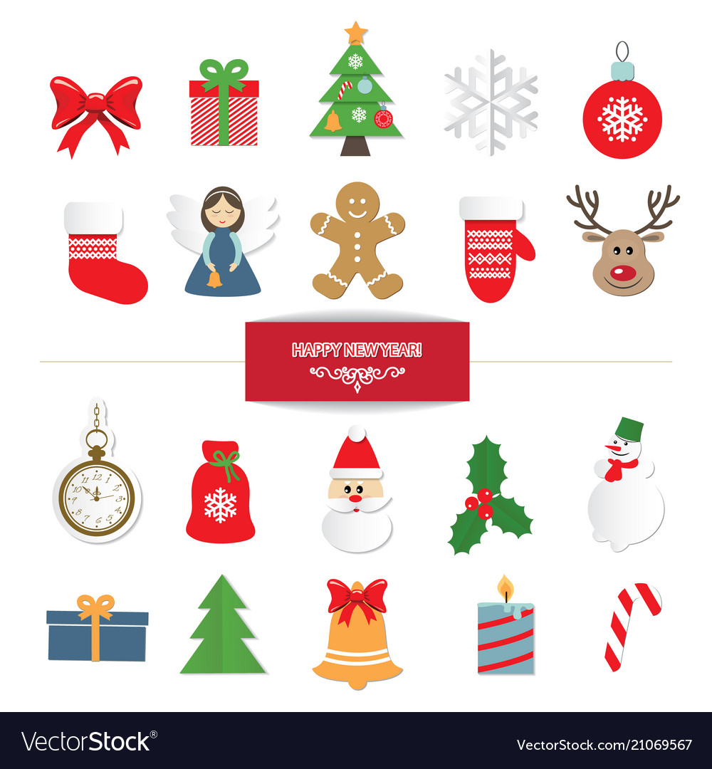 Christmas decorative elements and stickers set