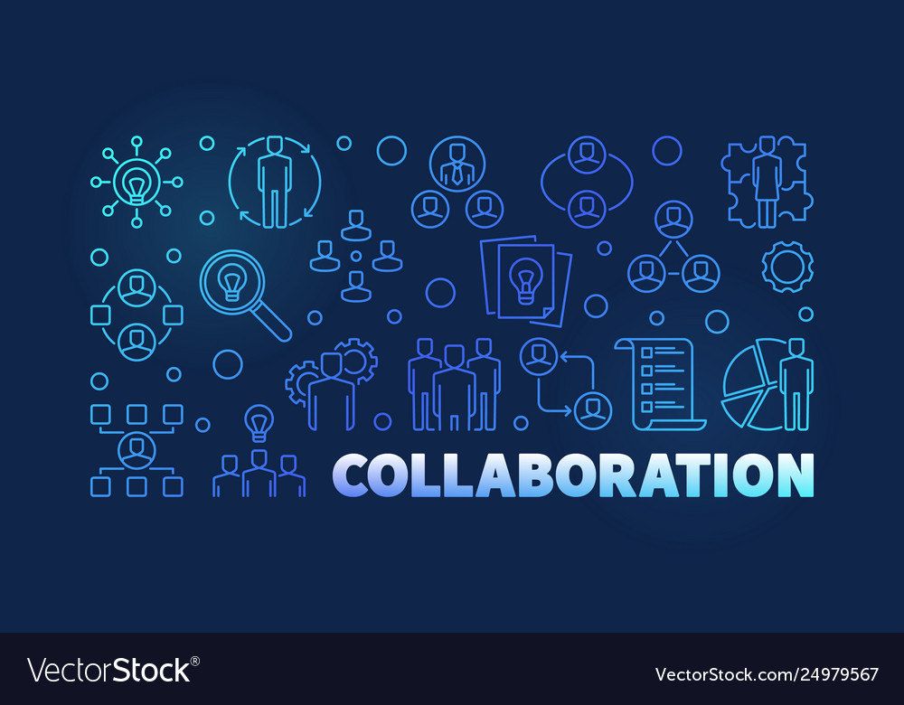 Collaboration outline blue modern banner