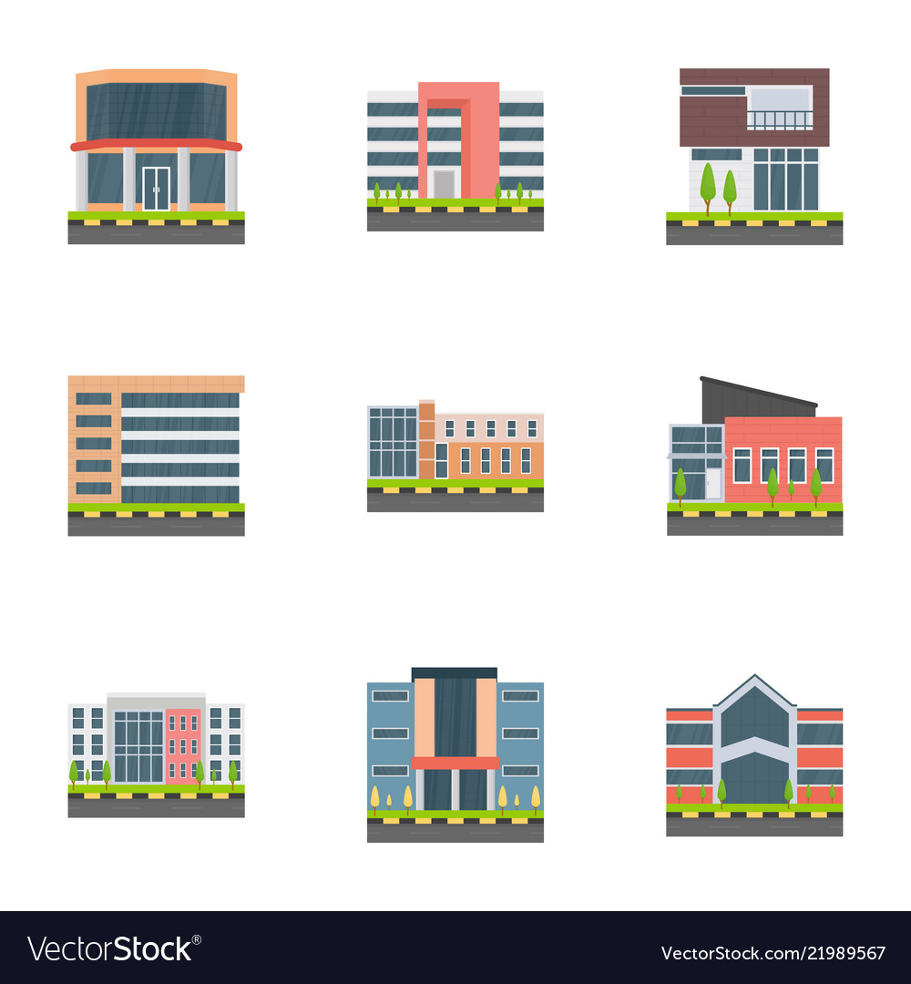 Corporate head offices flat icons