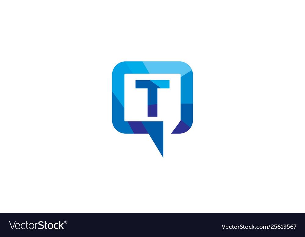 Creative t letter talk bubble logo design symbol