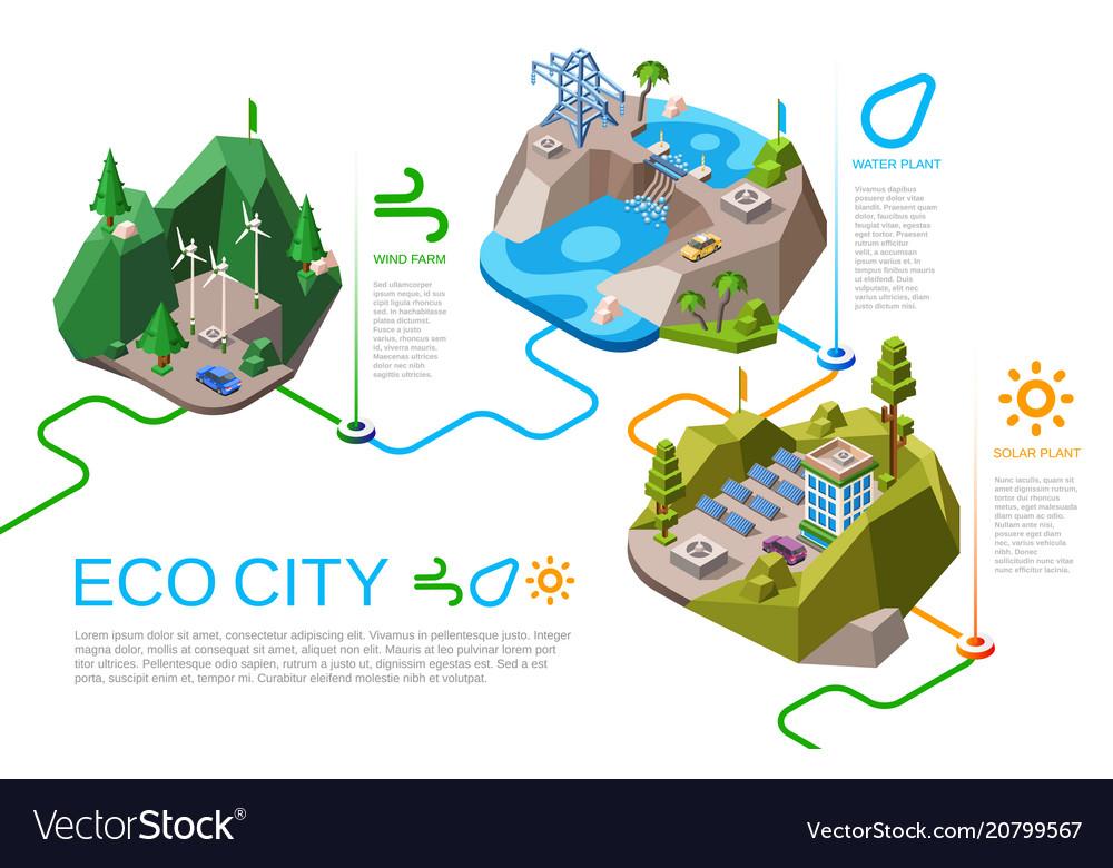 Eco city energy isometric
