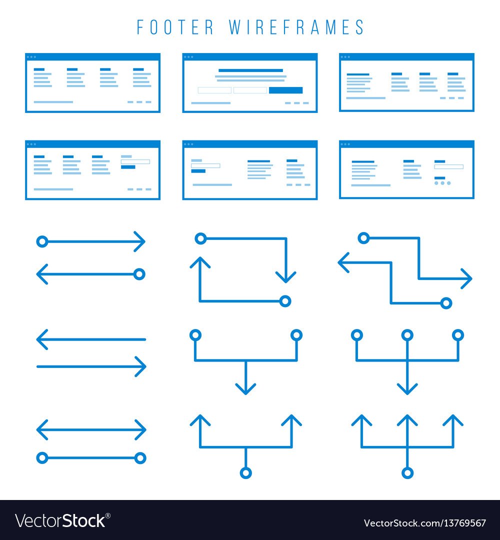 Footer wireframe components for prototypes