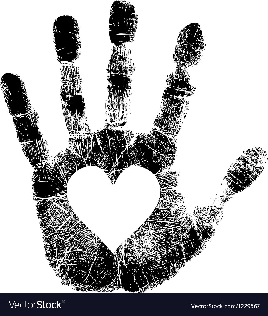 Hand print with heart vector image