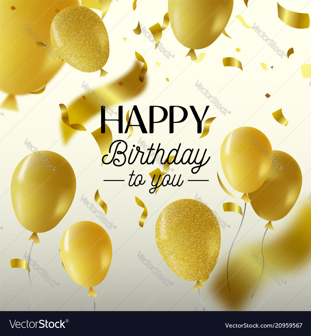 Happy birthday gold party balloon greeting card