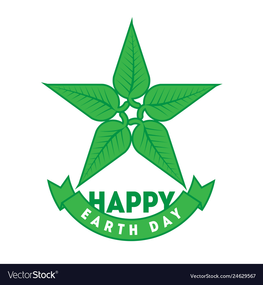 Happy earth day april 22 graphic poster with star