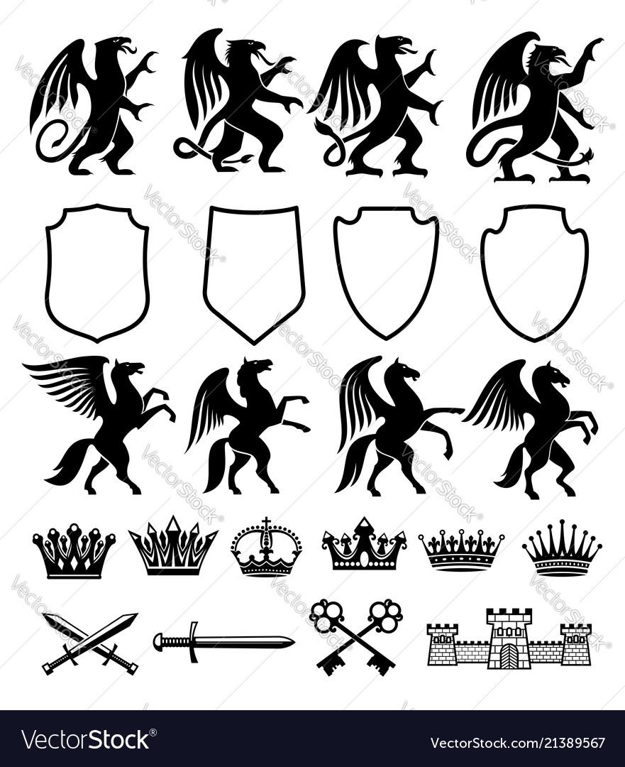 Heraldic royal animals isolated icons