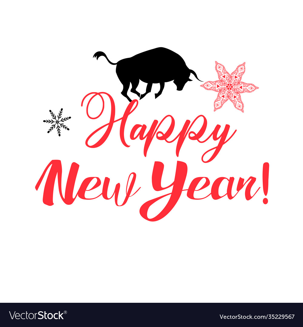 Holiday greeting card with a new year and a bull