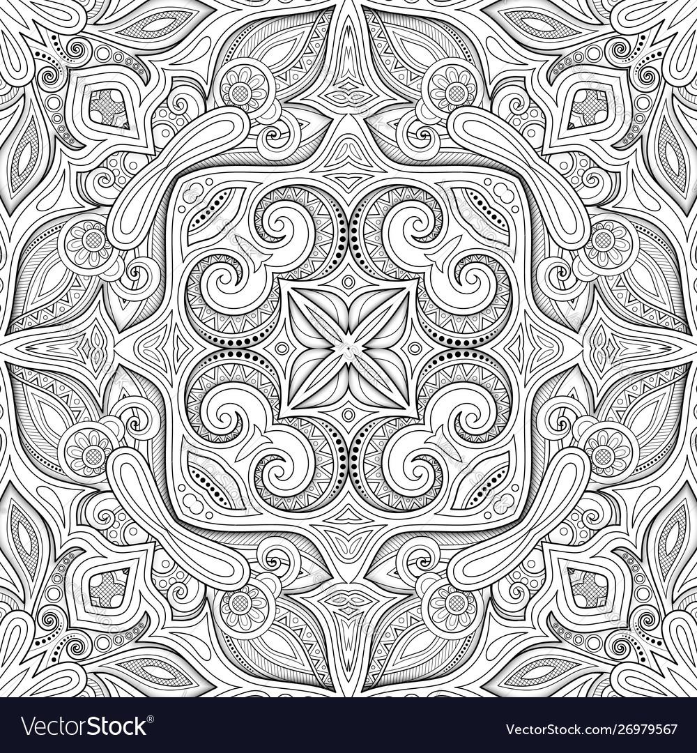 Monochrome seamless pattern with mosaic motif