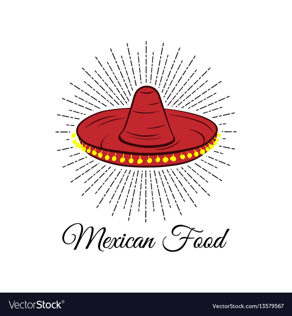 Red sombrero mexican food badge isolated on white