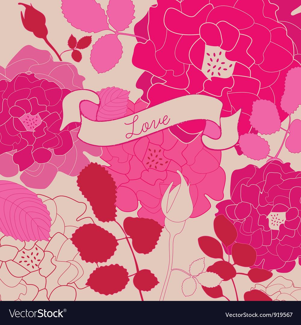 Vintage Floral Love Background