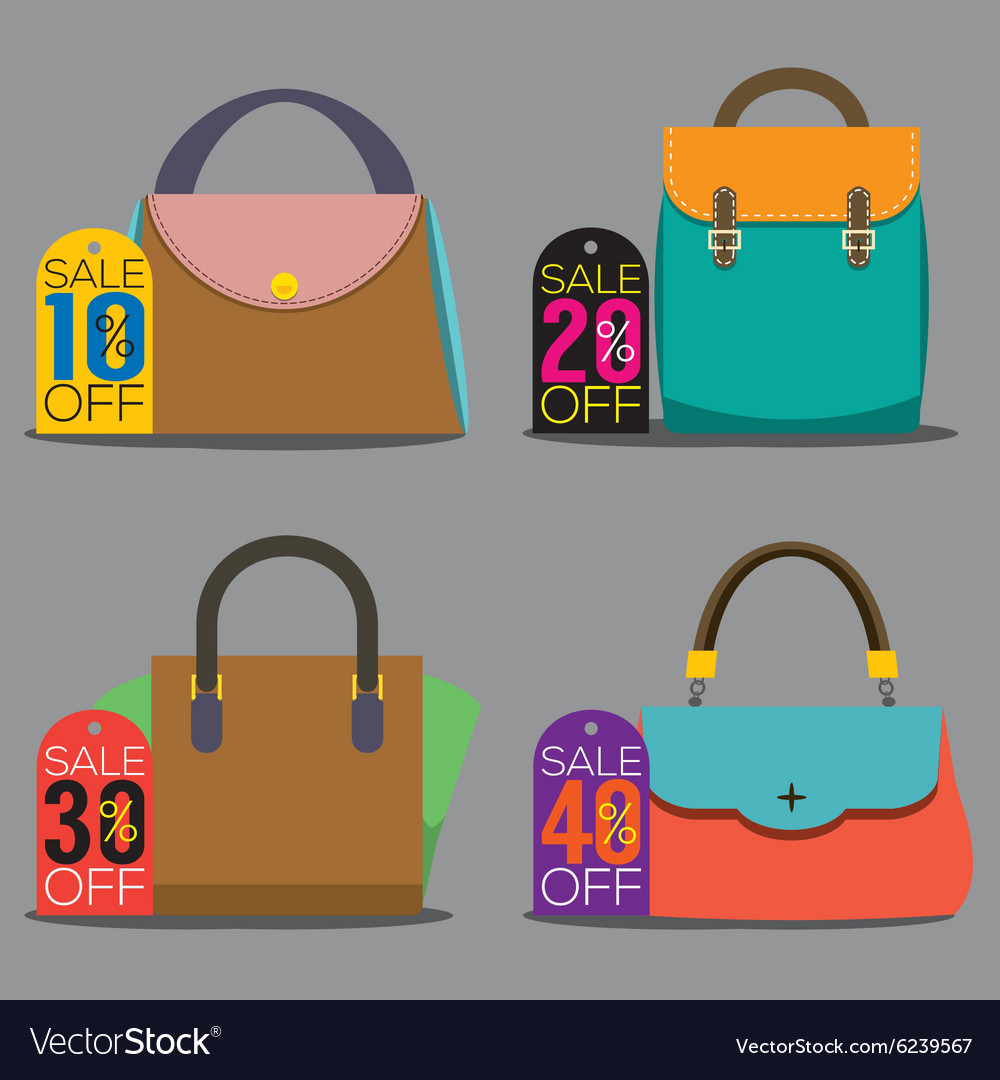 Women Bags With Sale Tags vector image