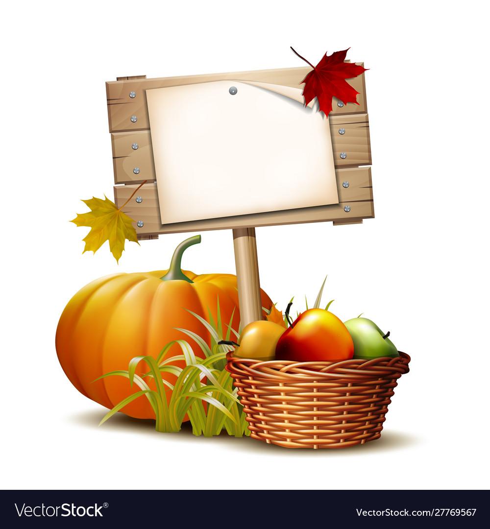 Wooden banner with orange pumpkin autumnal leaves