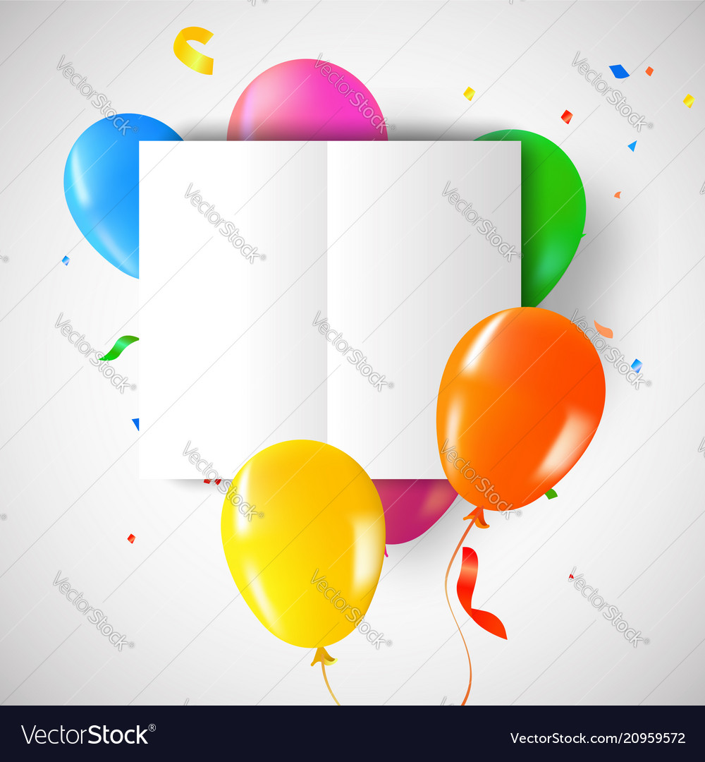 Birthday party balloons with card template