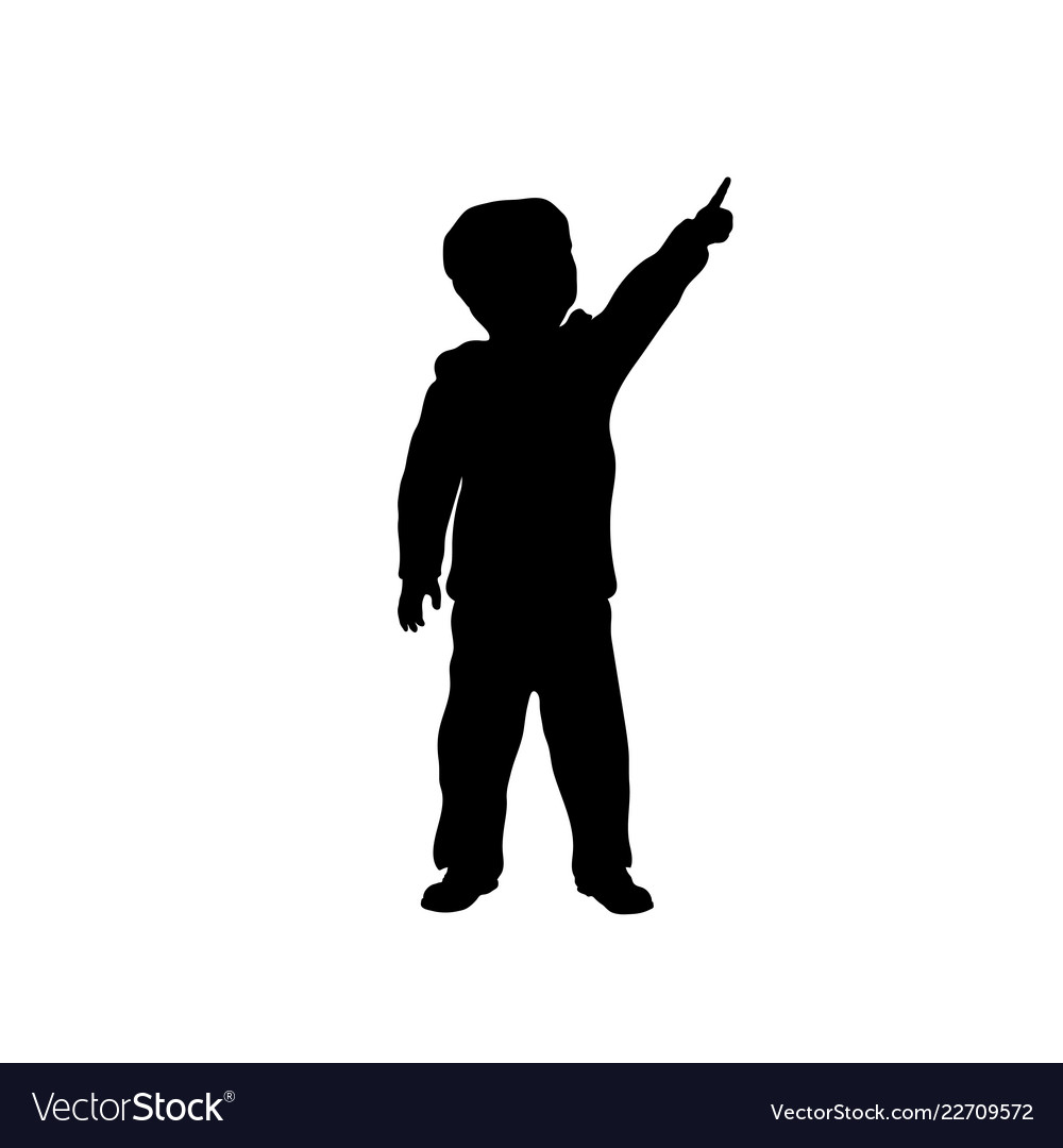 Black Silhouette Little Boy Pointing To Sky Vector Image Download free boy silhouette vectors and other types of boy silhouette graphics and clipart at freevector.com! vectorstock