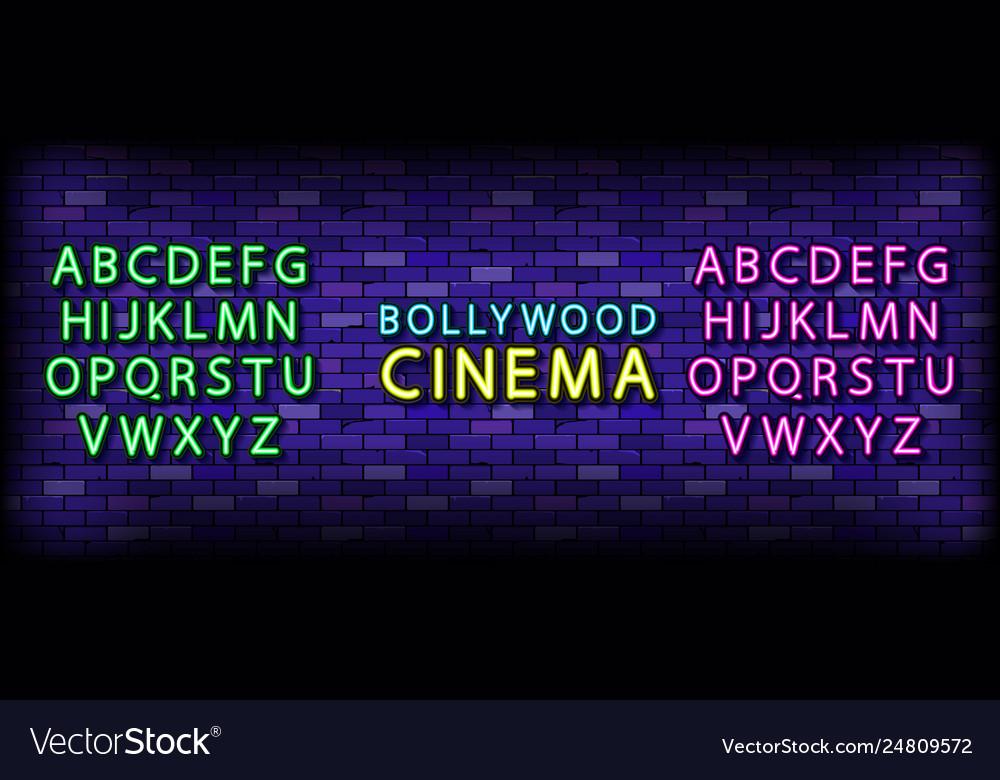Bollywood cinema neon lettering