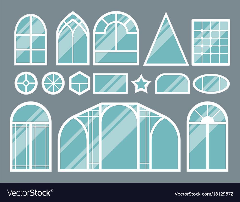 house windows types jalousie windows different types house windows elements flat style vector image