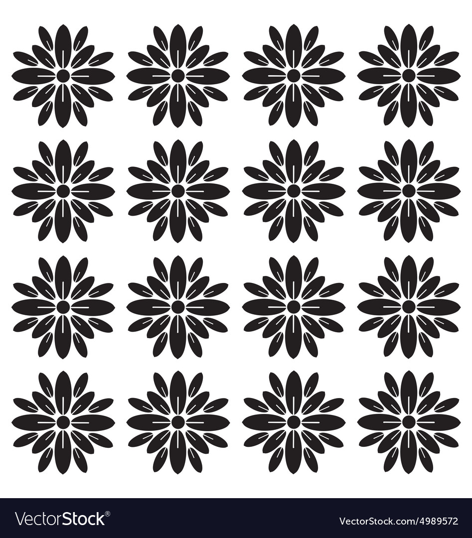 Flower Block Print Pattern Royalty Free Vector Image