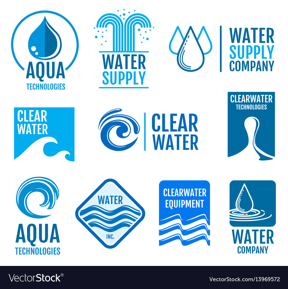 Fresh water logos and labels set with aqua