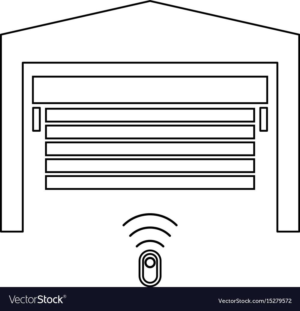 Garage Door Black Color Icon Royalty Free Vector Image