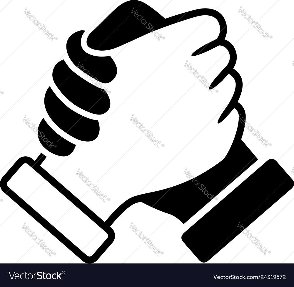 Hand clasp interracial handshake icon