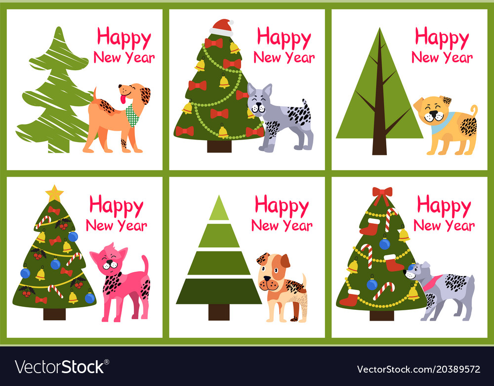 Christmas Puppies.Happy New Year Posters Set Christmas Trees Puppies