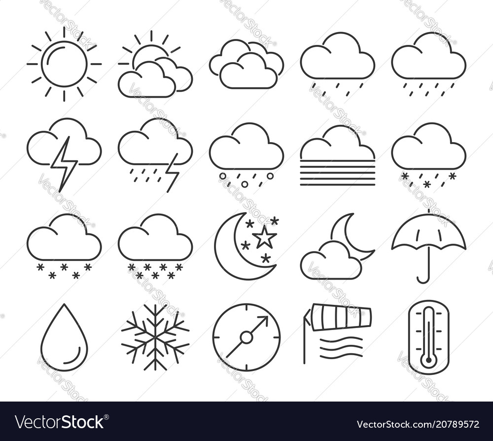 Modern line style icons set weather