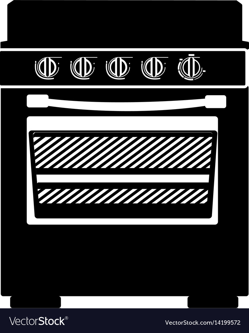 Monochrome silhouette of stove with oven