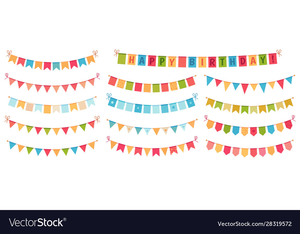 Party bunting color paper triangular flags