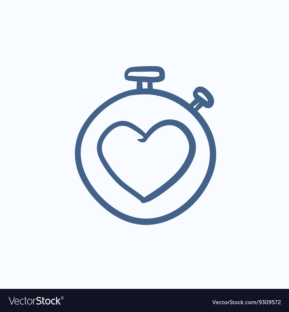 Stopwatch with heart sign sketch icon
