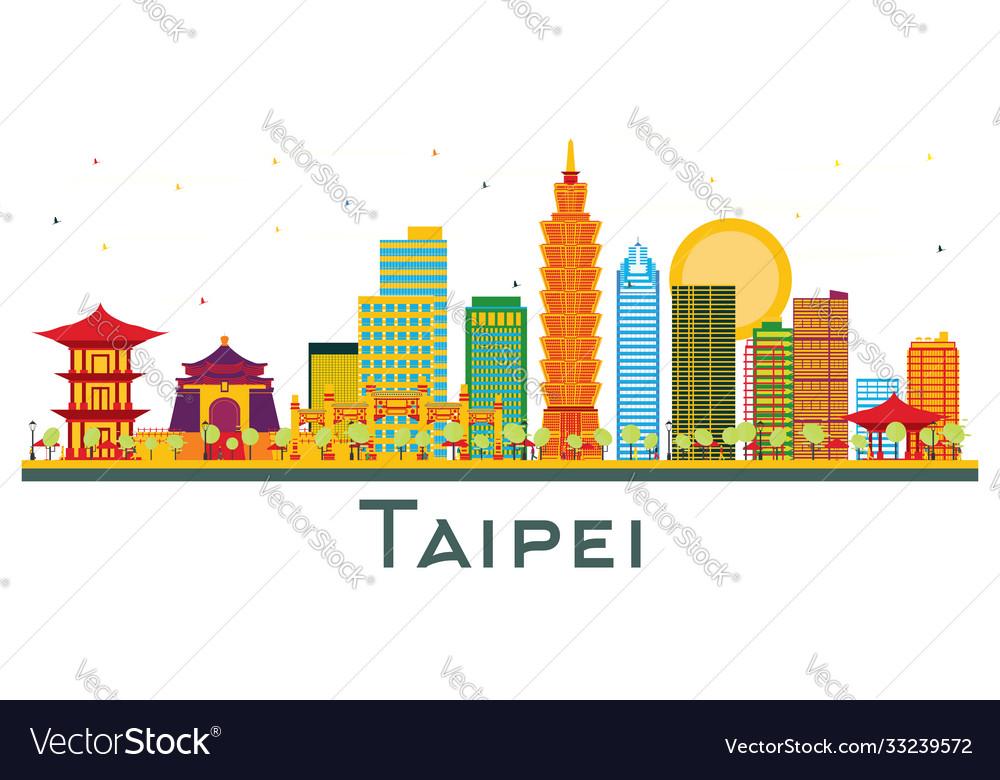 Taipei taiwan city skyline with color buildings