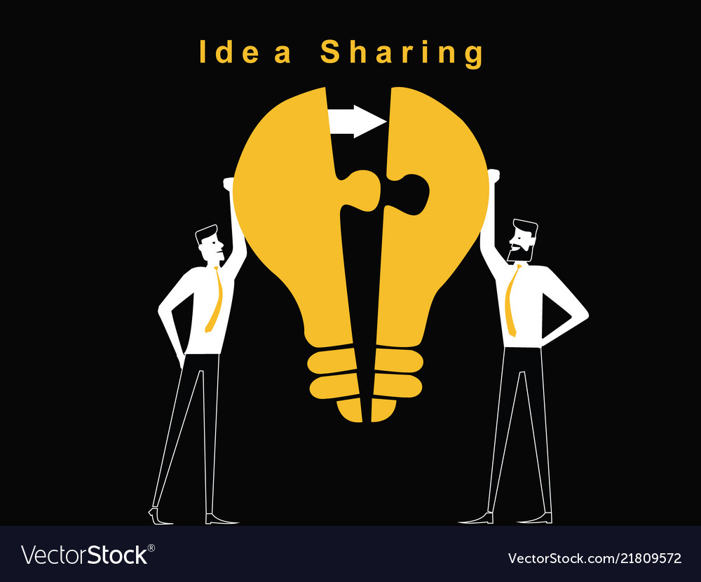 f1da9b6be84 Two man are sharing the idea Royalty Free Vector Image