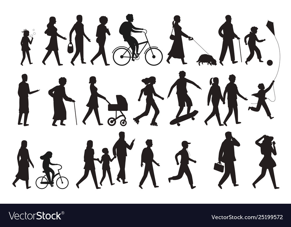 Walking persons silhouette group people young