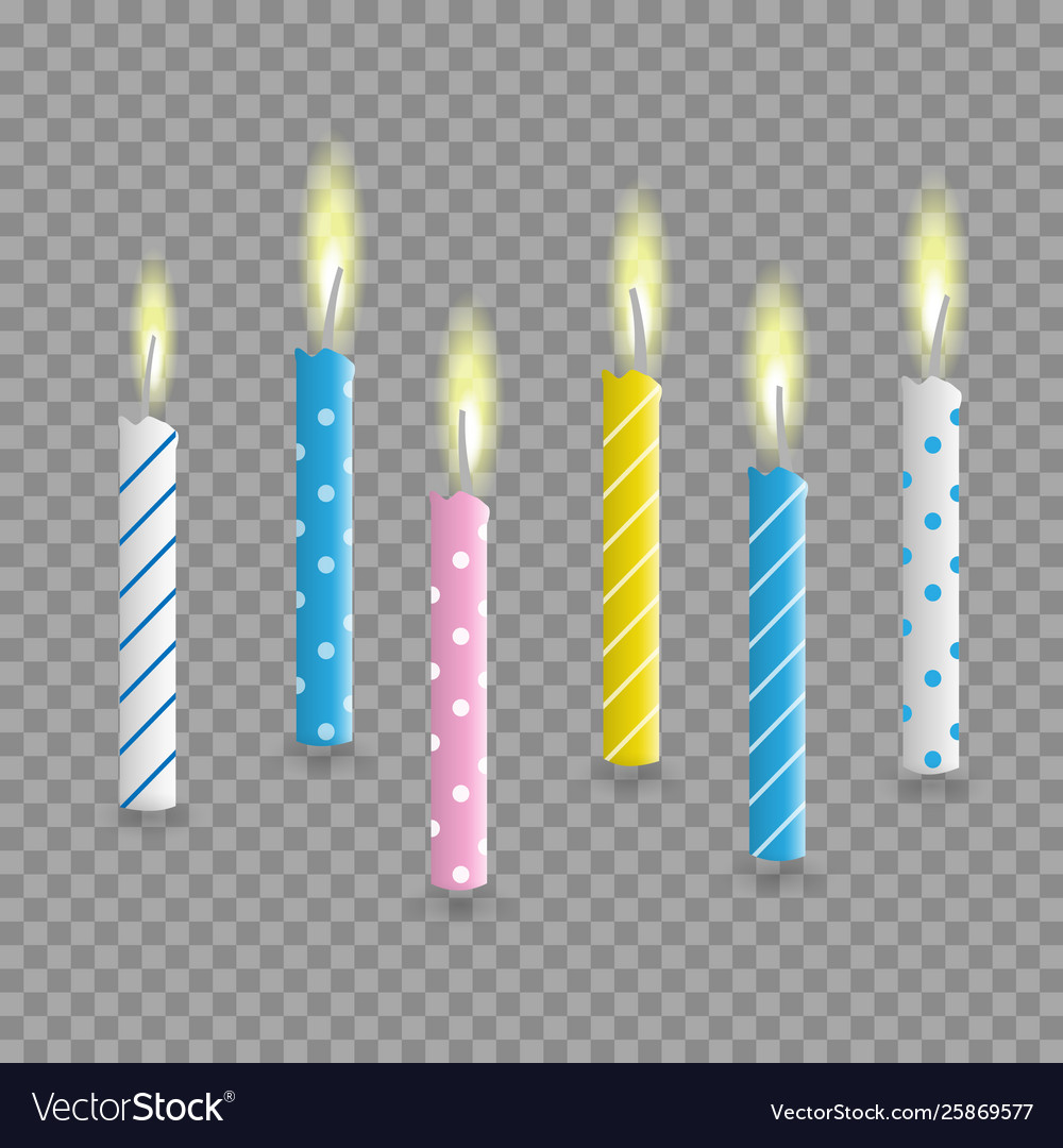 Birthday cake candles realistic set isolated