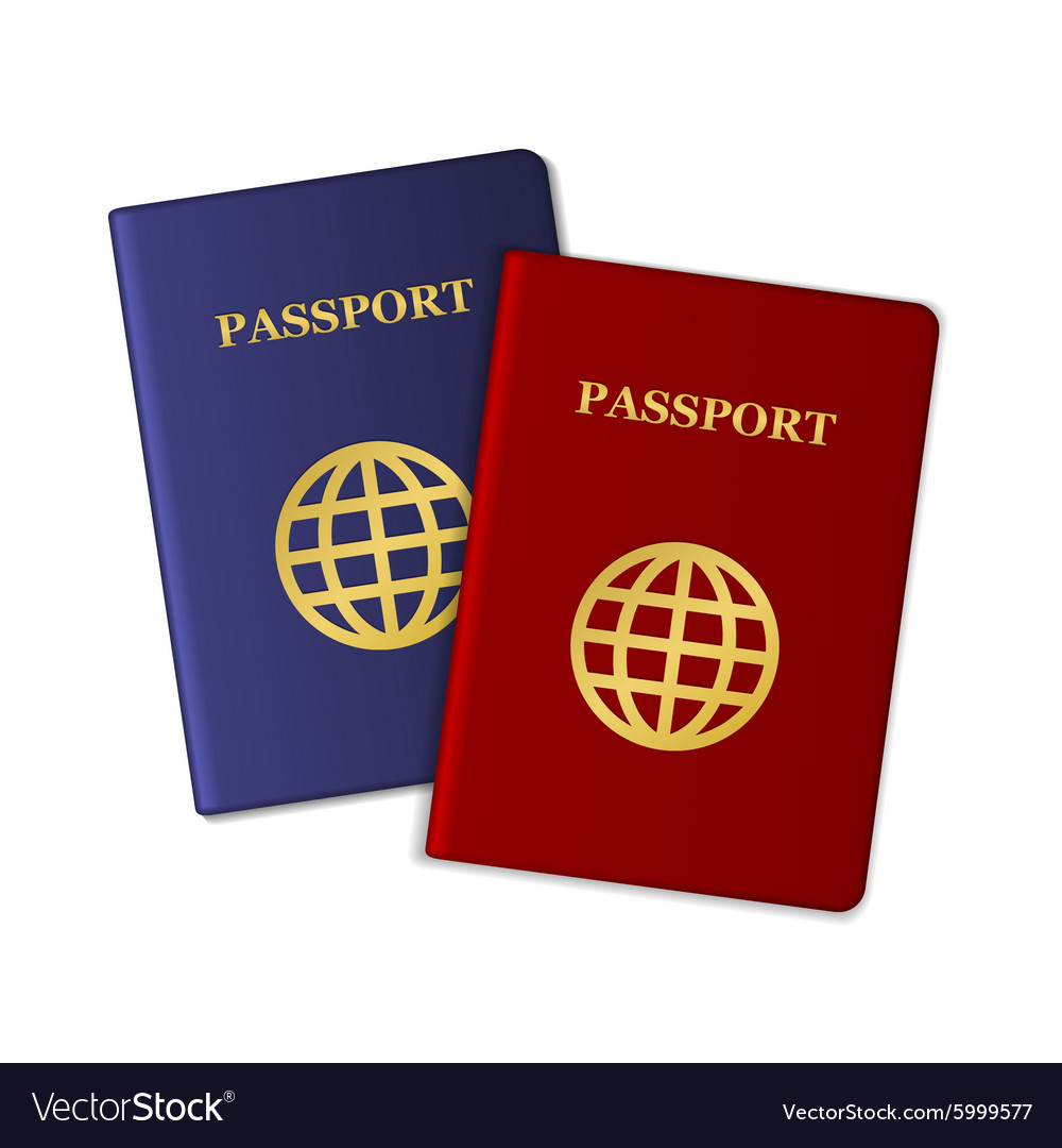 Blue and Red Passports Isolated on White