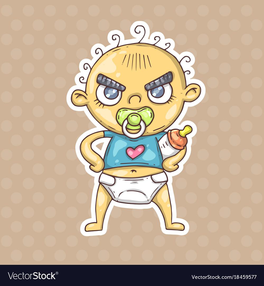Cartoon angry baby