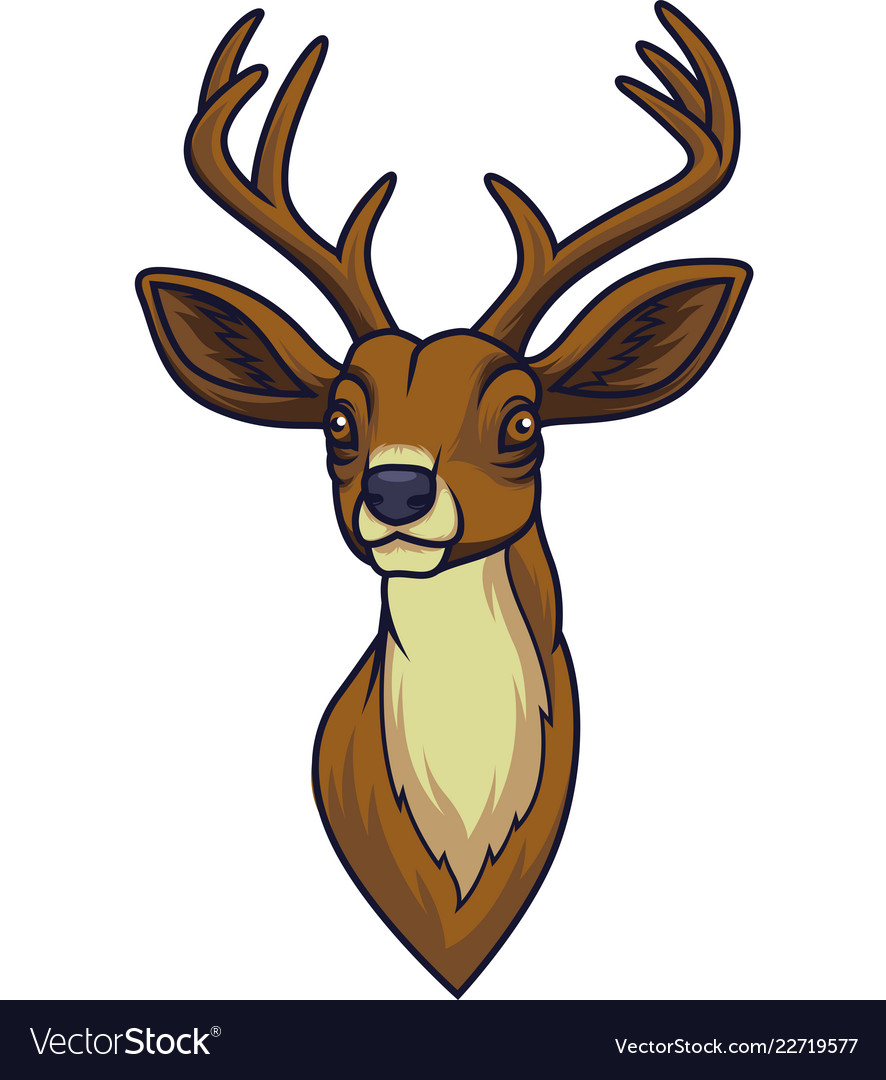 Cartoon Deer Head Mascot Royalty Free Vector Image