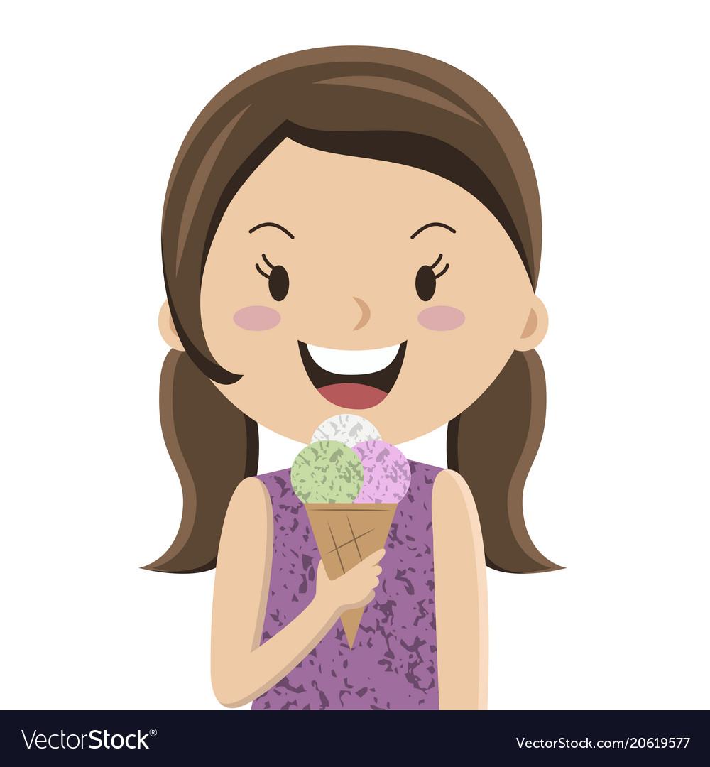 Cartoon girl eating ice cream cornet