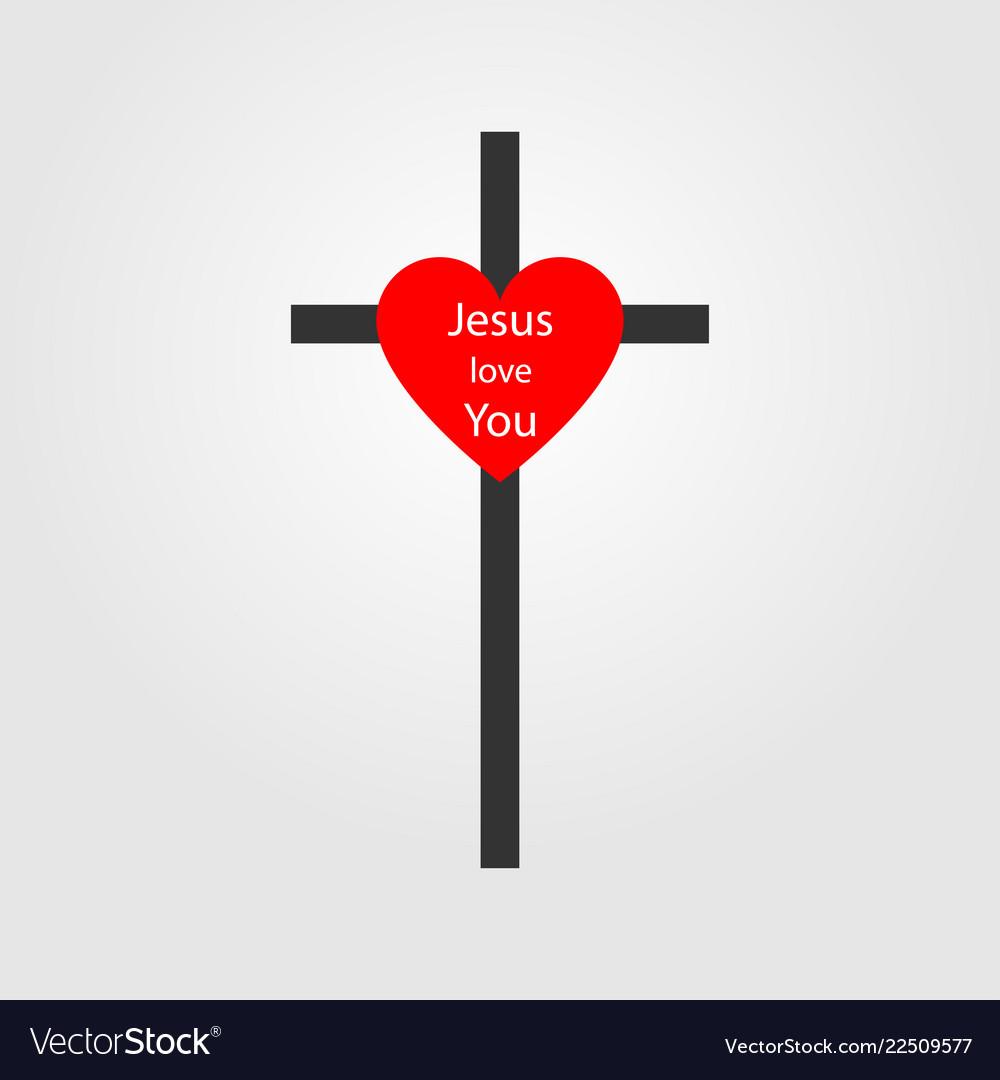 Christian cross sign with heart cross icon cross