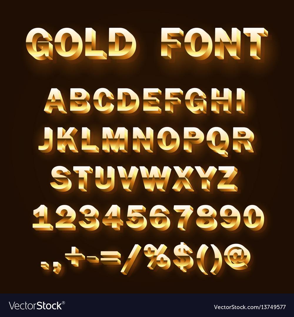 Font 3d gold sign set template design element