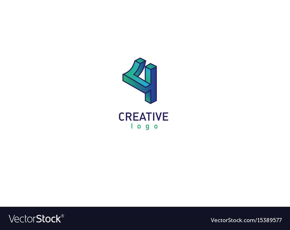 Geometric 3d logotype in a gradient style